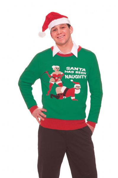 Ladies Naughty Santa Sweater Costume Father Christmas Fancy Dress Outfit